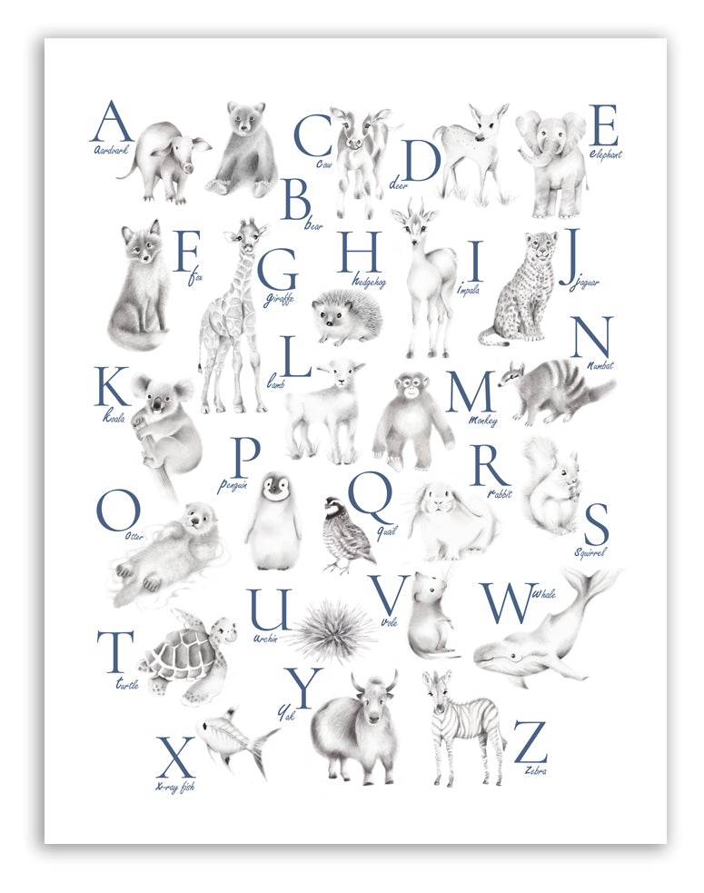 Animal Grey Alphabet Art Print