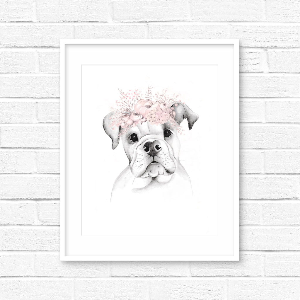 American Bulldog Puppy with Blush Floral Crown - Studio Q - Art by Nicky Quartermaine Scott