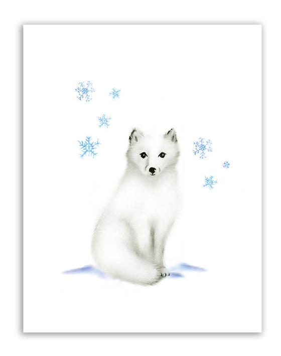 Arctic fox with snowflakes print