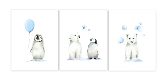 Arctic Friends Art Prints - Set of 3 - Studio Q - Art by Nicky Quartermaine Scott
