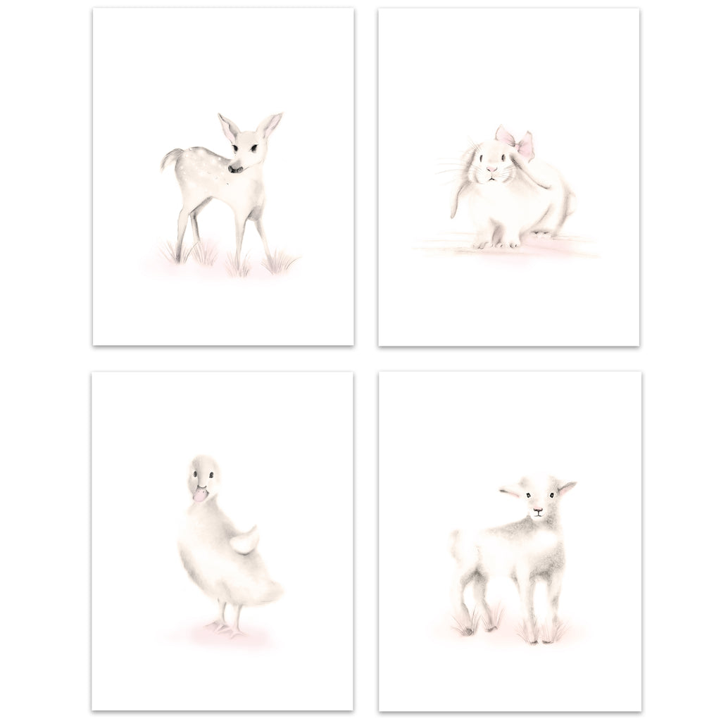 Farm Nursery Art Prints - Sweet Blush - Set of 4 - Studio Q - Art by Nicky Quartermaine Scott