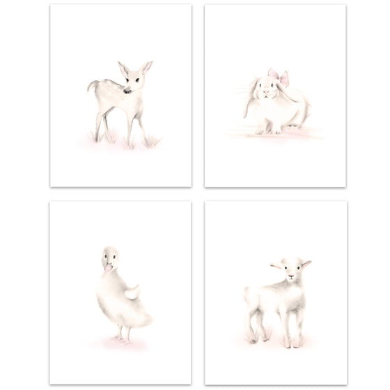 Farm Nursery Art Prints - Sweet Blush - Set of 4