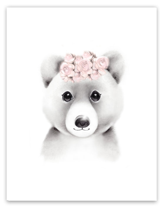 Baby Bear Blush Flower Crown Print - Studio Q - Art by Nicky Quartermaine Scott