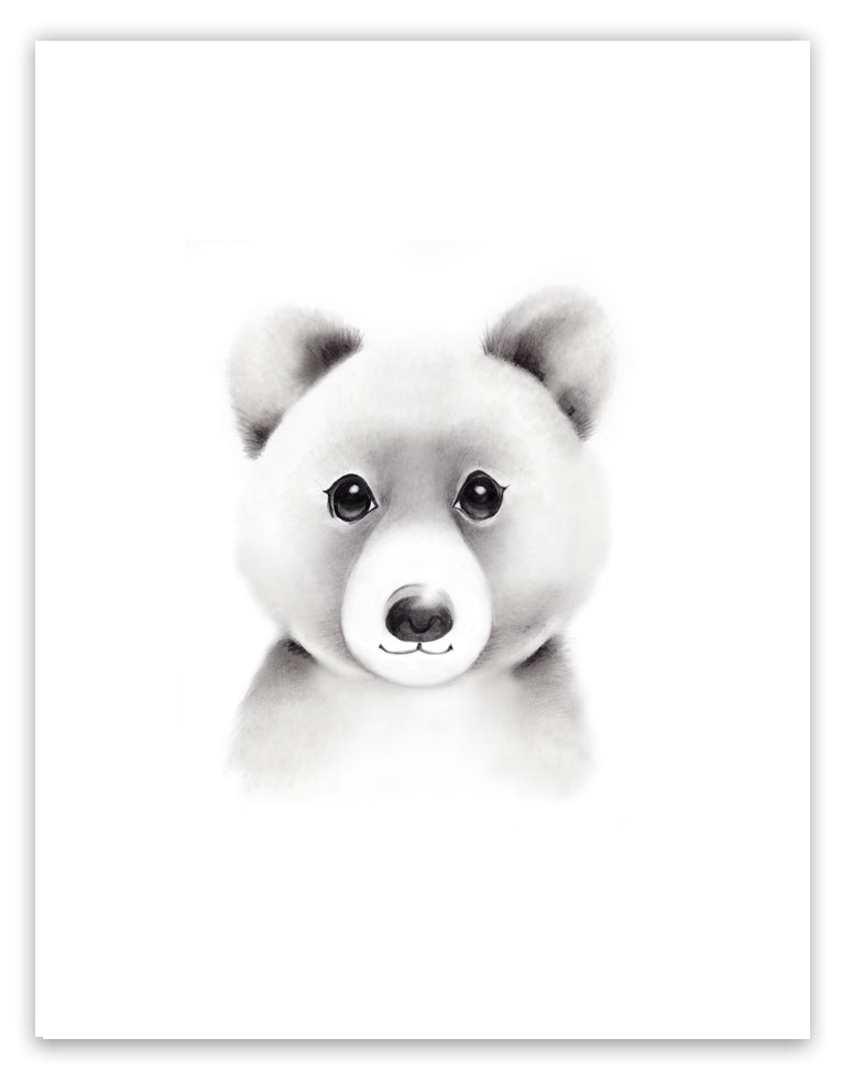 Bear Sketch Fluffy Face Print - Studio Q - Art by Nicky Quartermaine Scott