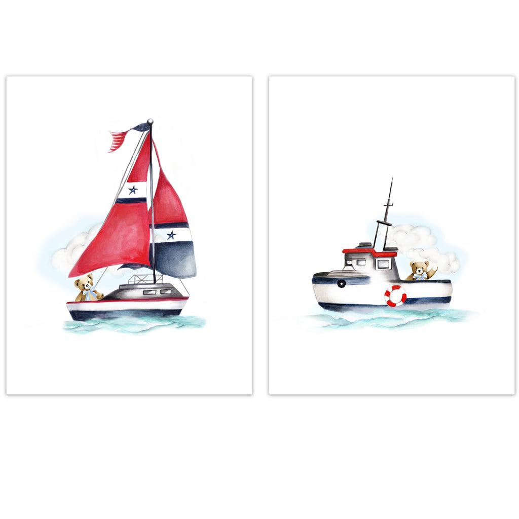 Nautical Nursery Boats with Teddy Bear Prints - Studio Q - Art by Nicky Quartermaine Scott