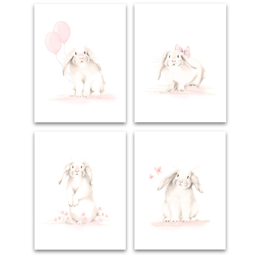Bunny Art Prints - Sweet Blush - Set of 4 - Studio Q - Art by Nicky Quartermaine Scott