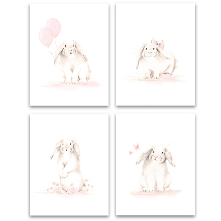 Bunny Art Prints - Sweet Blush - Set of 4