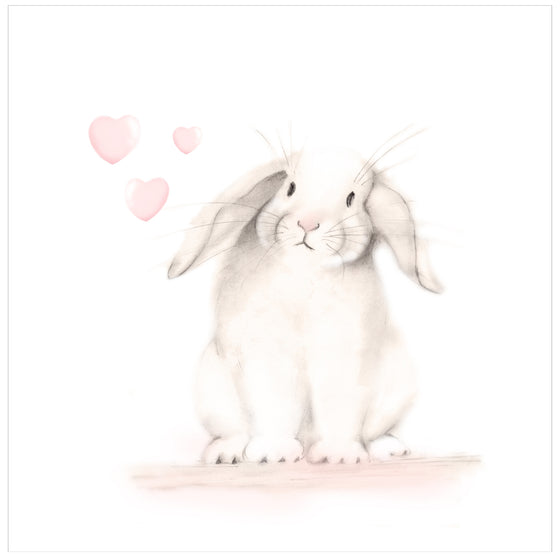 Bunny with Hearts 1 Nursery Print - Sweet Blush - Studio Q - Art by Nicky Quartermaine Scott
