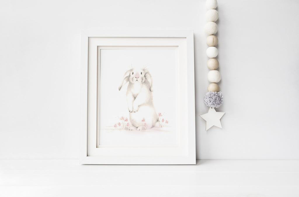 Bunny with Flowers 1 Nursery Art Print - Sweet Blush - Studio Q - Art by Nicky Quartermaine Scott