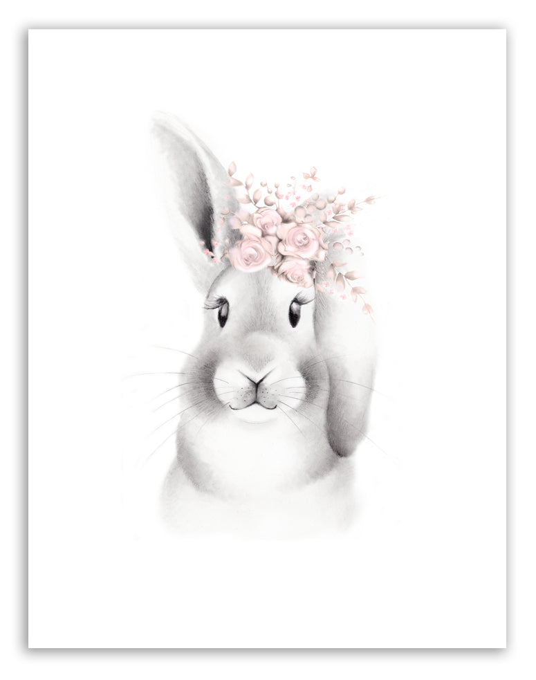 Bunny with Blush Flower Crown Print - Studio Q - Art by Nicky Quartermaine Scott