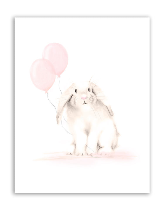 Bunny with Balloons Nursery Print - Sweet Blush - Studio Q - Art by Nicky Quartermaine Scott