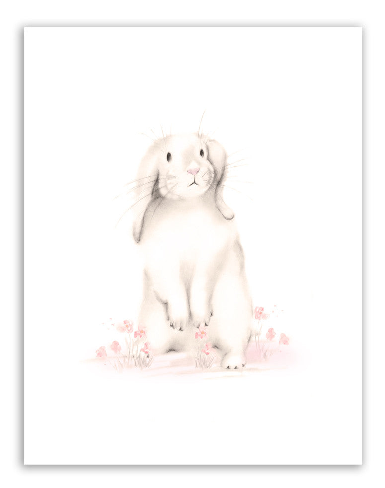 Bunny with Flowers 2 Nursery Print - Sweet Blush Collection - Studio Q - Art by Nicky Quartermaine Scott