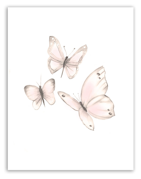 Pink Butterflies Print 1 - Sweet Blush - Studio Q - Art by Nicky Quartermaine Scott