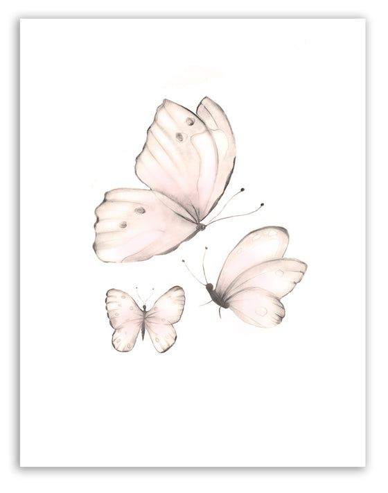 Pink Butterflies Print 2 - Sweet Blush - Studio Q - Art by Nicky Quartermaine Scott