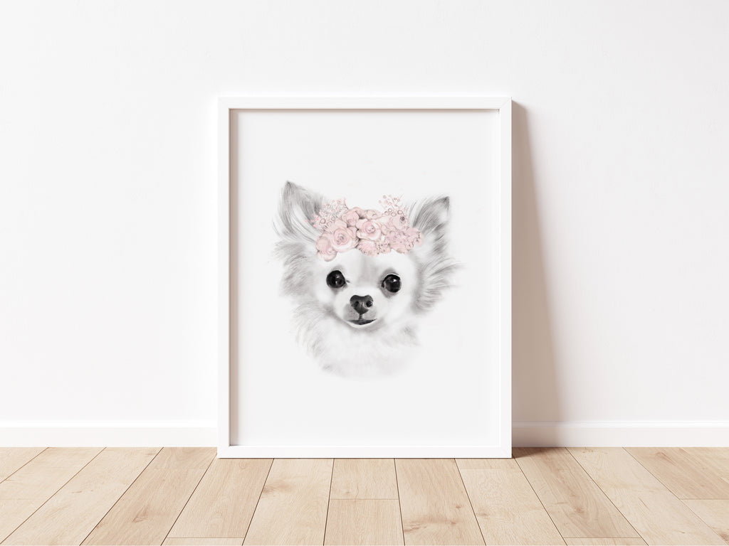 Chihuahua Flower Crown Print - Studio Q - Art by Nicky Quartermaine Scott