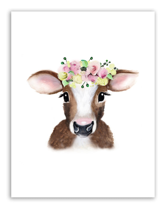 Cow Pink Yellow Flower Crown Print