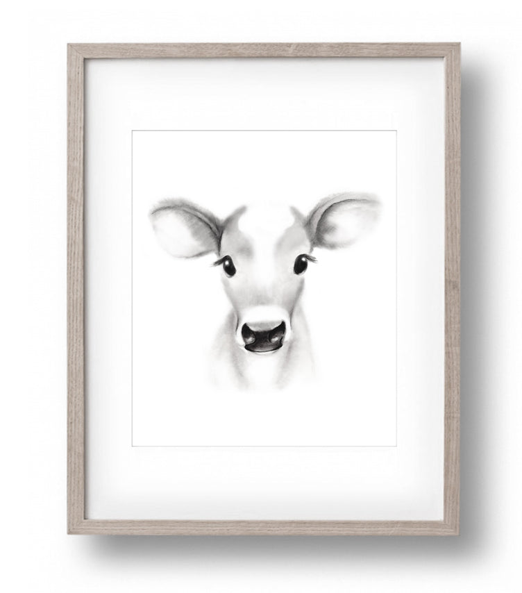 Cow Sketch Fluffy Face Print - Studio Q - Art by Nicky Quartermaine Scott