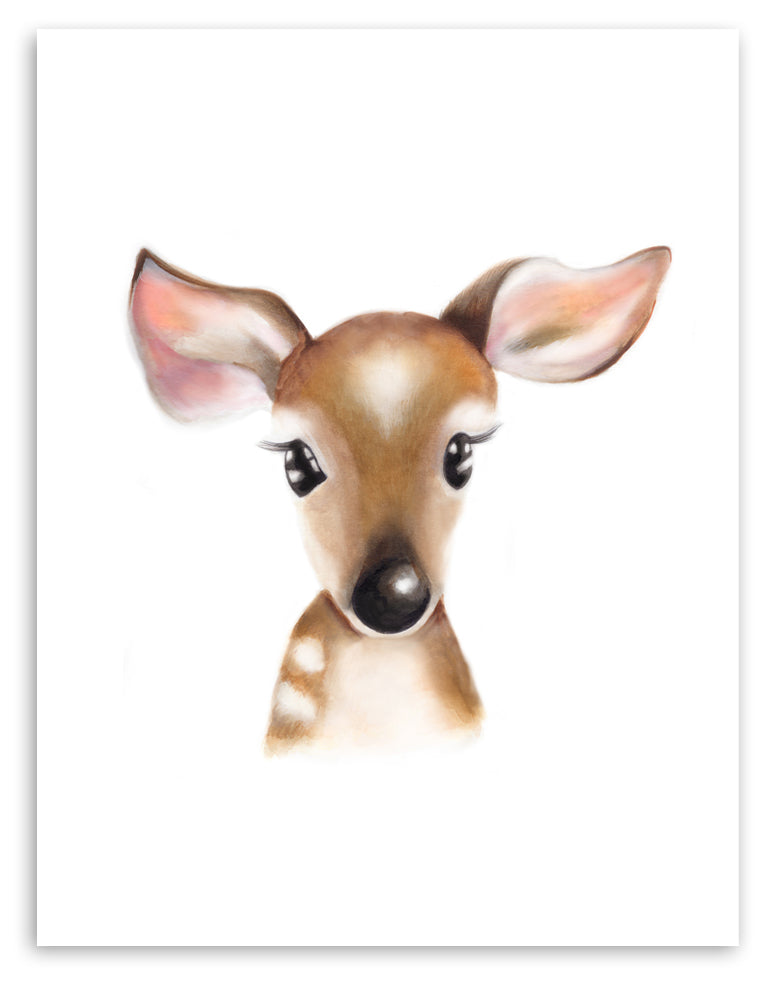 Baby Deer Fluffy Face Print - Studio Q - Art by Nicky Quartermaine Scott