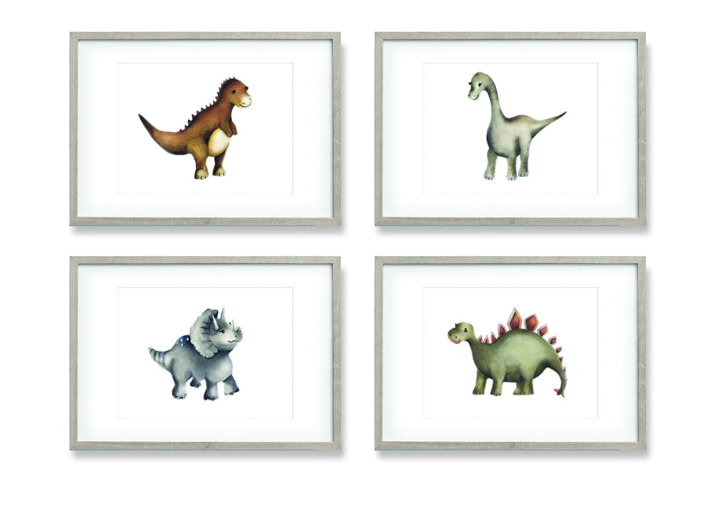 Dinosaur Paintings - Set of 4 - Studio Q - Art by Nicky Quartermaine Scott