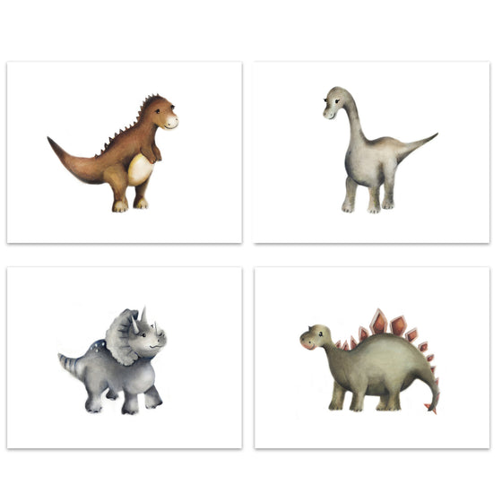 Set of 4 Dinosaur Nursery Prints for Kids Room