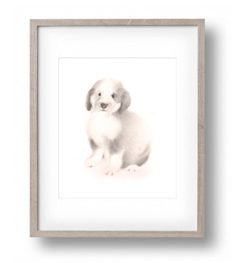 Puppy 2 Nursery Art Print - Sweet Blush - Studio Q - Art by Nicky Quartermaine Scott