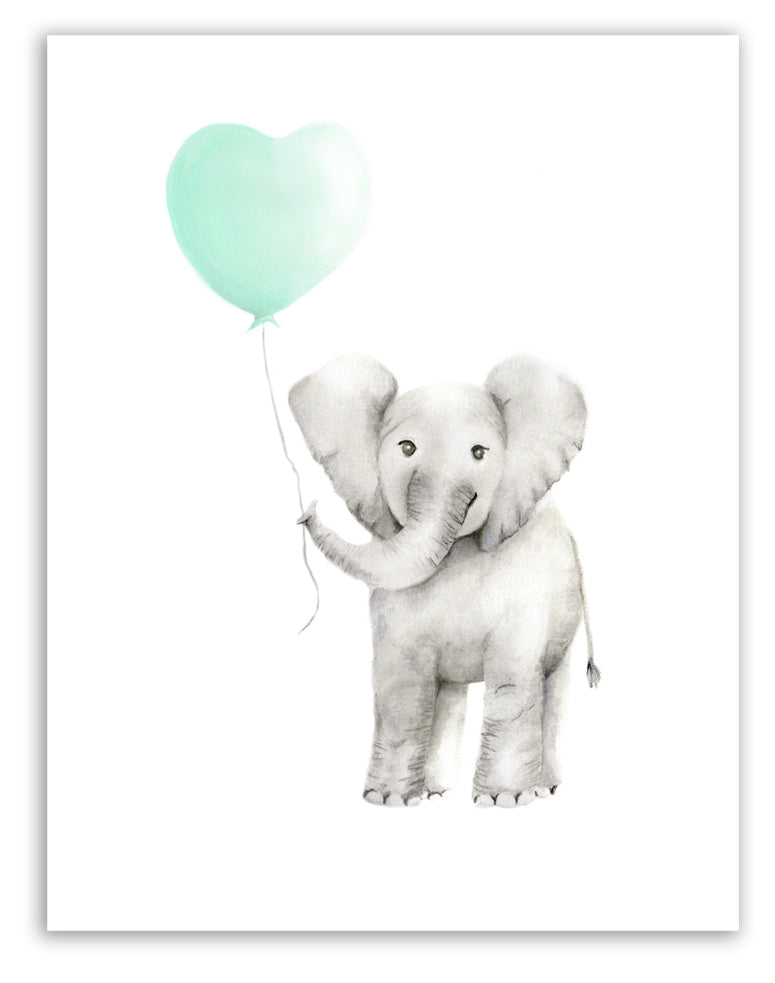 Baby Elephant with Heart Balloon Print - Studio Q - Art by Nicky Quartermaine Scott