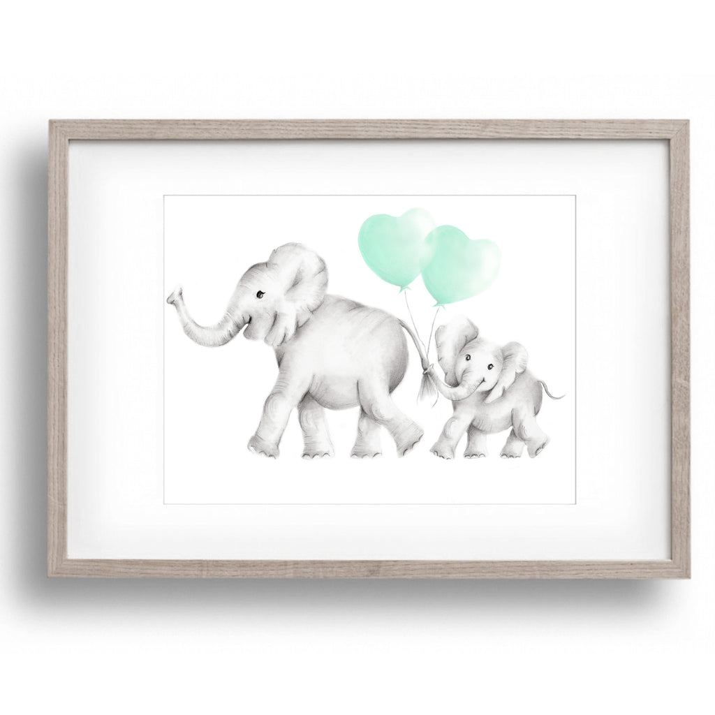 Elephant Mama & Baby Heart Balloons Print - Studio Q - Art by Nicky Quartermaine Scott