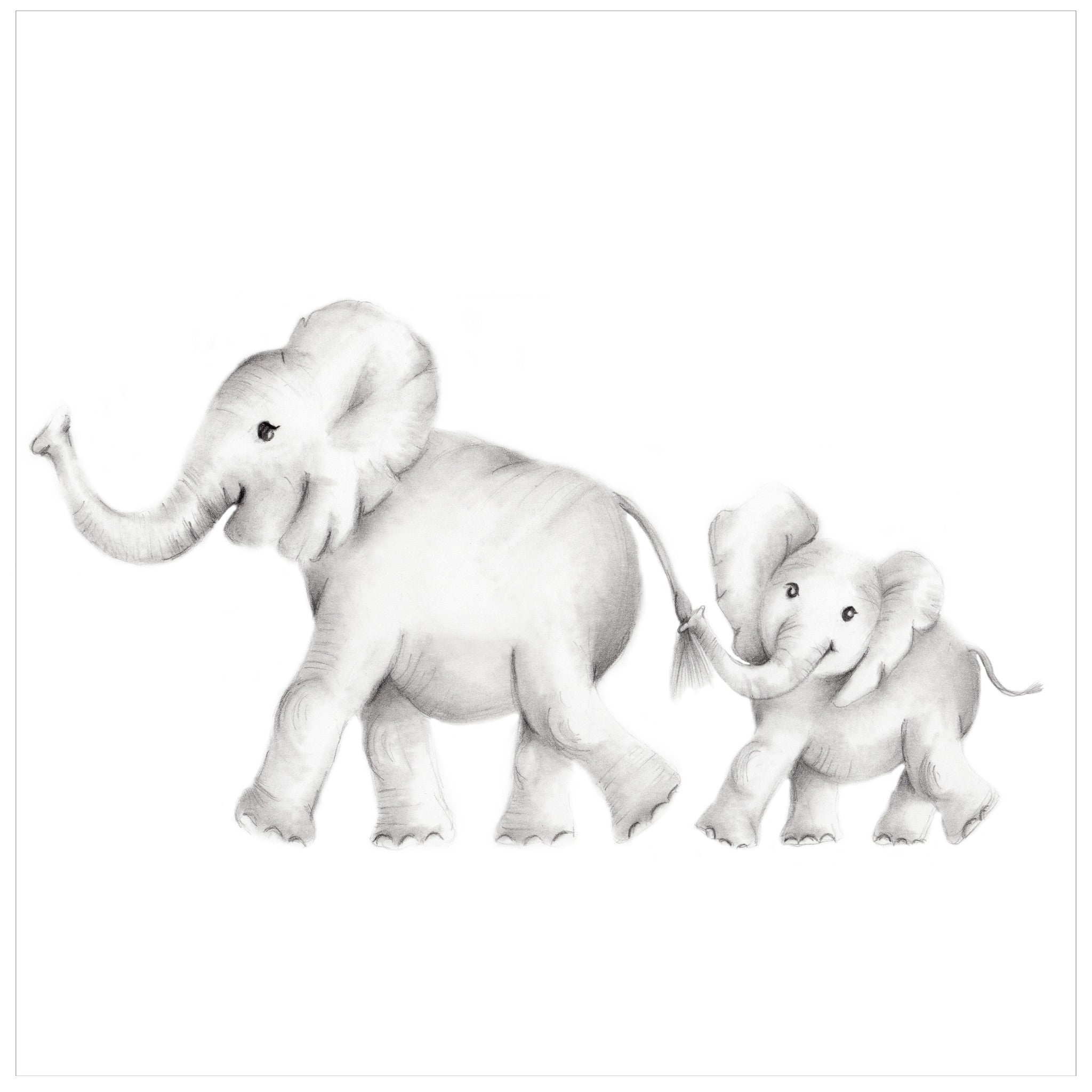 Elephant family pencil drawing print