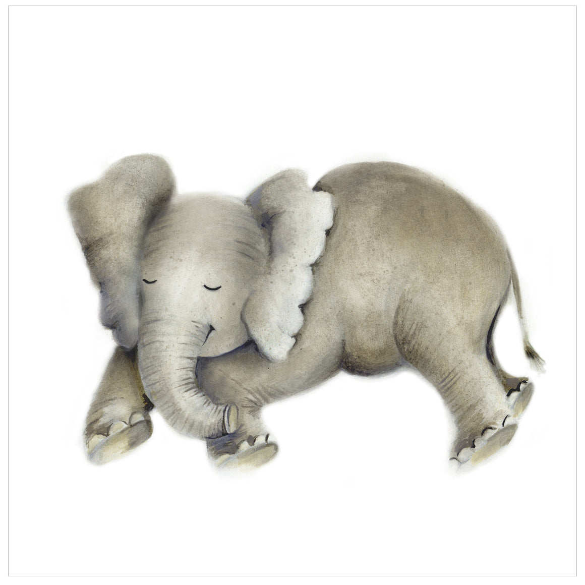 Sleeping baby elephant print
