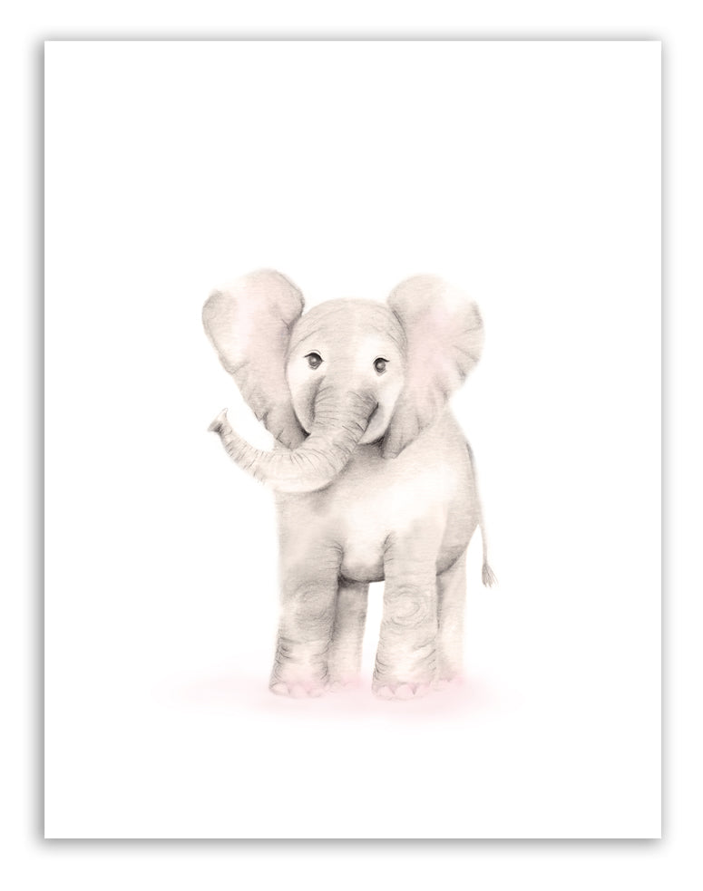 Elephant Nursery Art Print - Sweet Blush