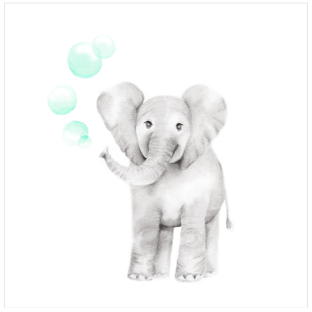 Baby Elephant with Bubbles Print - Studio Q - Art by Nicky Quartermaine Scott