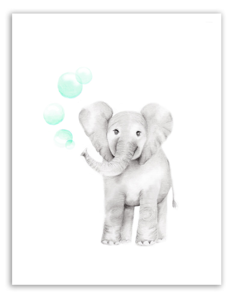 elephant with bubbles print