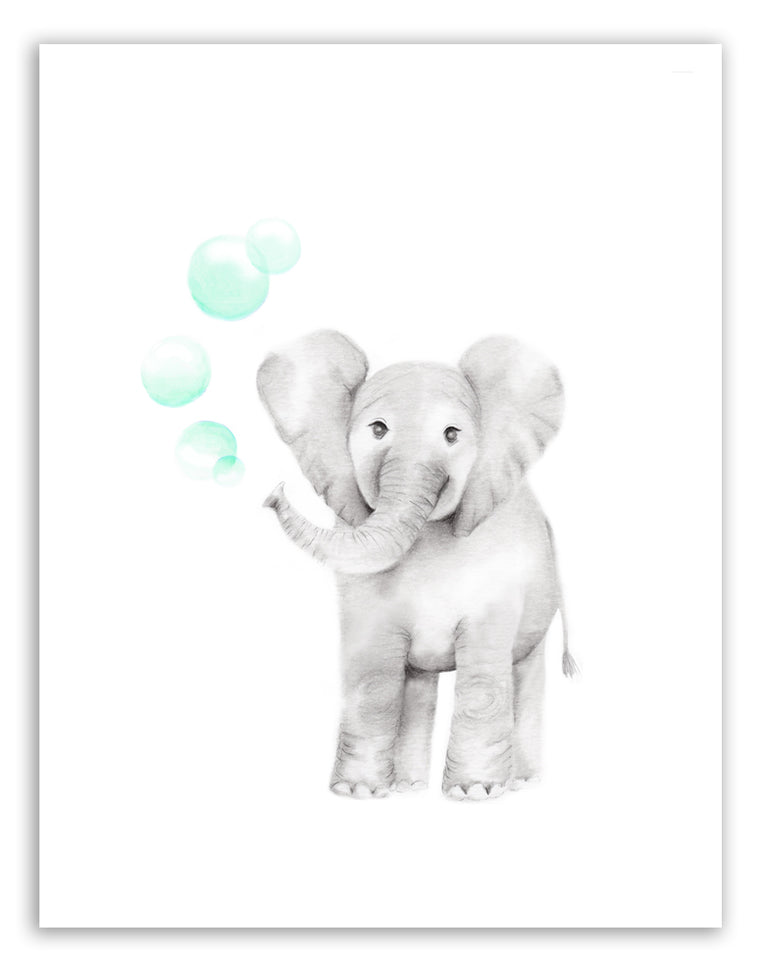 Baby Elephant with Bubbles Print