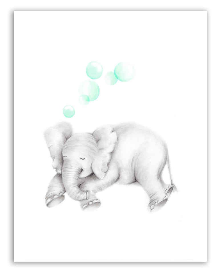Sleepy Baby Elephant with Bubbles Print