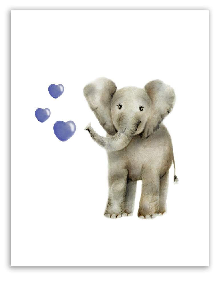 Baby Elephant with Hearts - Studio Q - Art by Nicky Quartermaine Scott