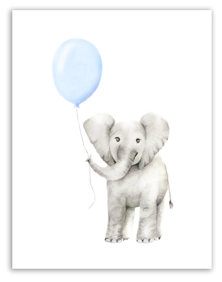 Baby Elephant with Round Balloon Print