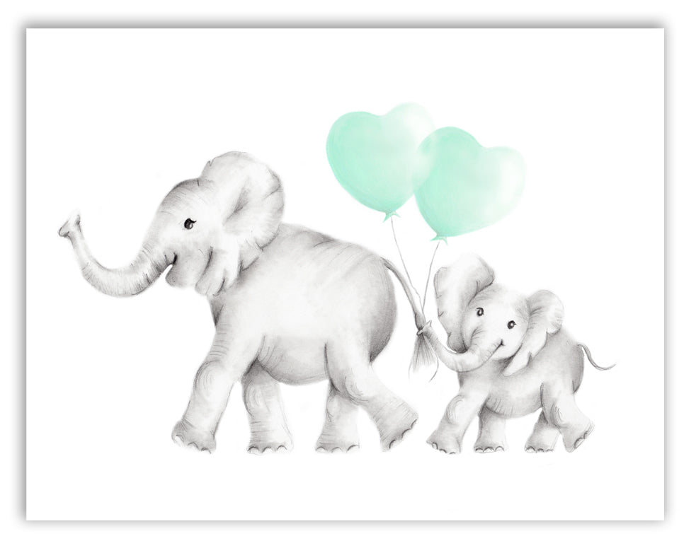 Mother and Baby Elephant with Heart Balloons Print