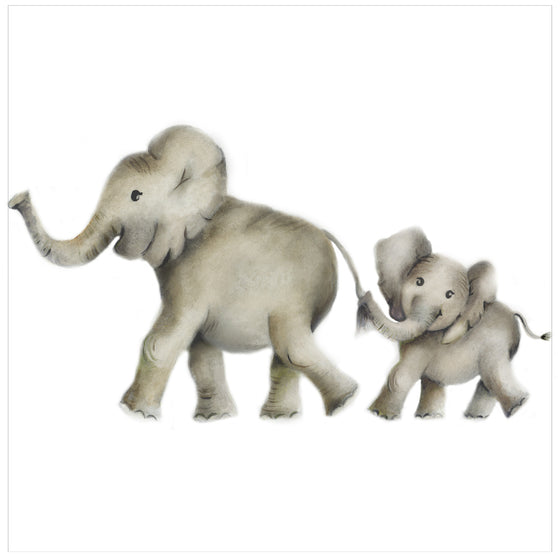 Mother and Baby Elephant Nursery Art Print - Studio Q - Art by Nicky Quartermaine Scott