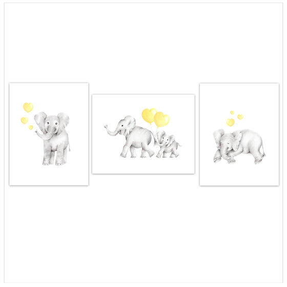 Elephants with Hearts Nursery Art Prints - Set of 3