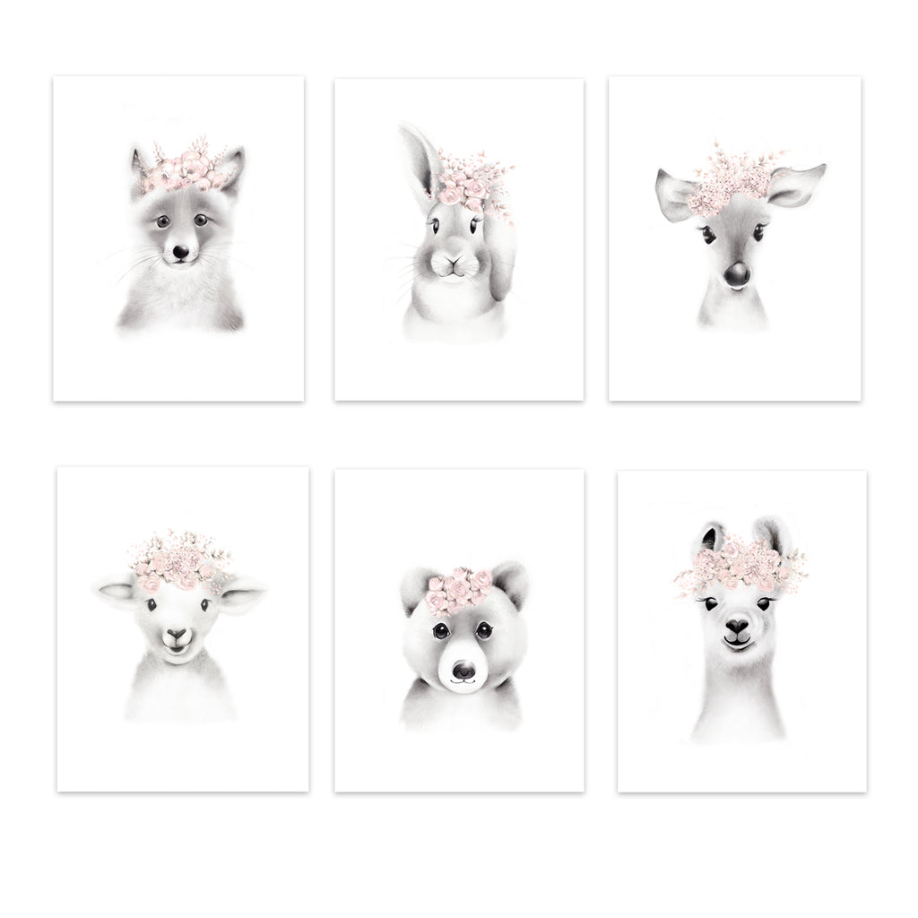 Baby Animal Flower Crown Prints - Set 6 - Studio Q - Art by Nicky Quartermaine Scott