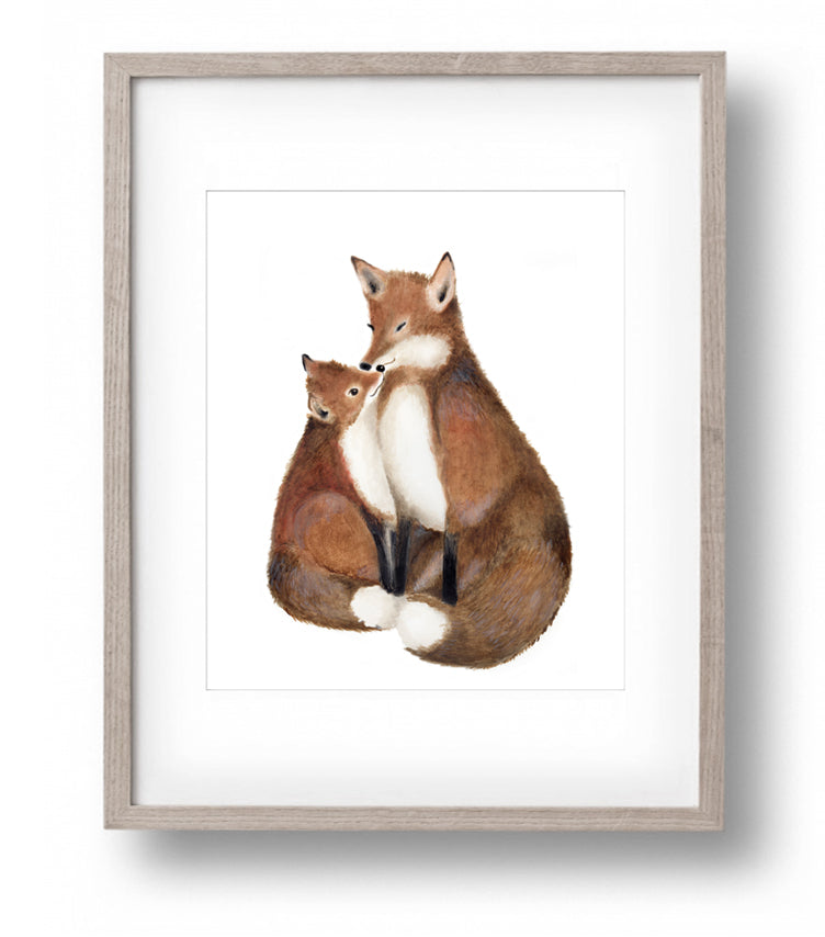 Mother and Baby Fox Nursery Art Print - Studio Q - Art by Nicky Quartermaine Scott