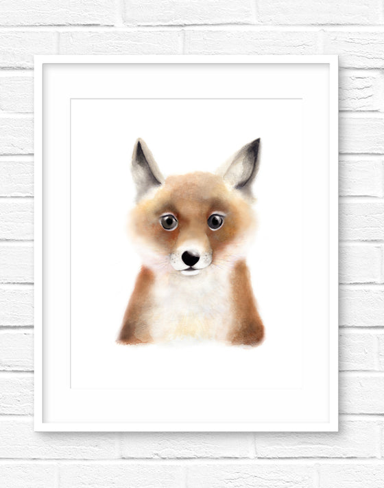 Baby Fox Fluffy Face Print - Studio Q - Art by Nicky Quartermaine Scott