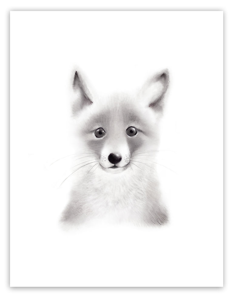 Fox Sketch Fluffy Face Print - Studio Q - Art by Nicky Quartermaine Scott