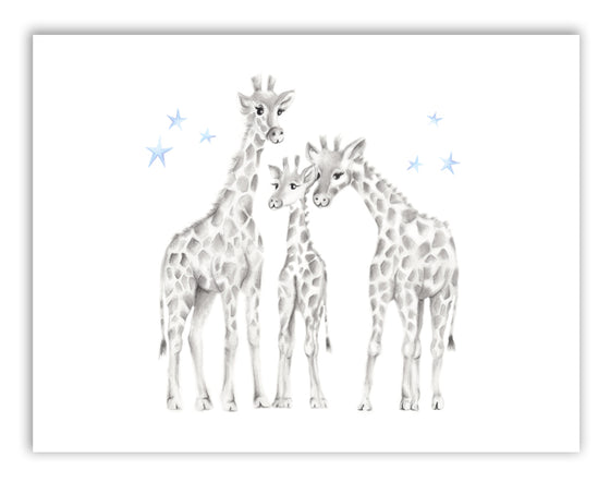 Giraffe Family Stars Nursery Print - Studio Q - Art by Nicky Quartermaine Scott