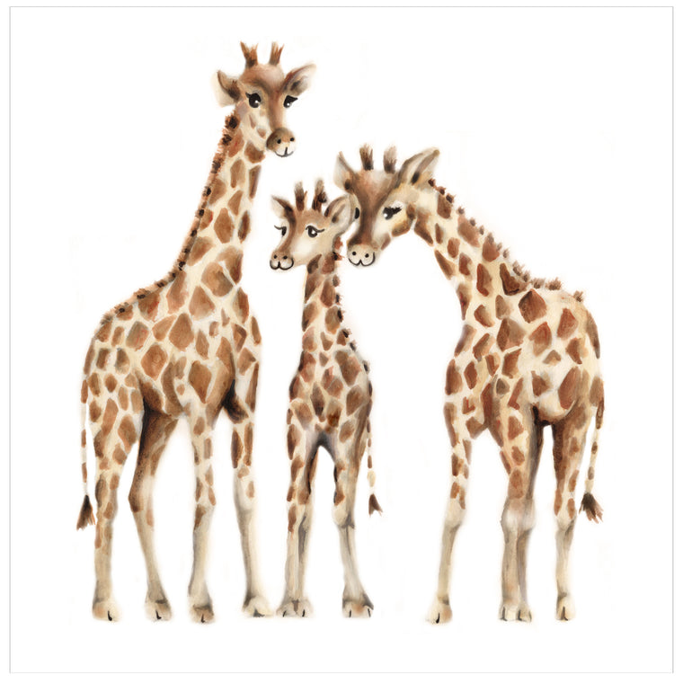 Giraffe Family Nursery Art Print