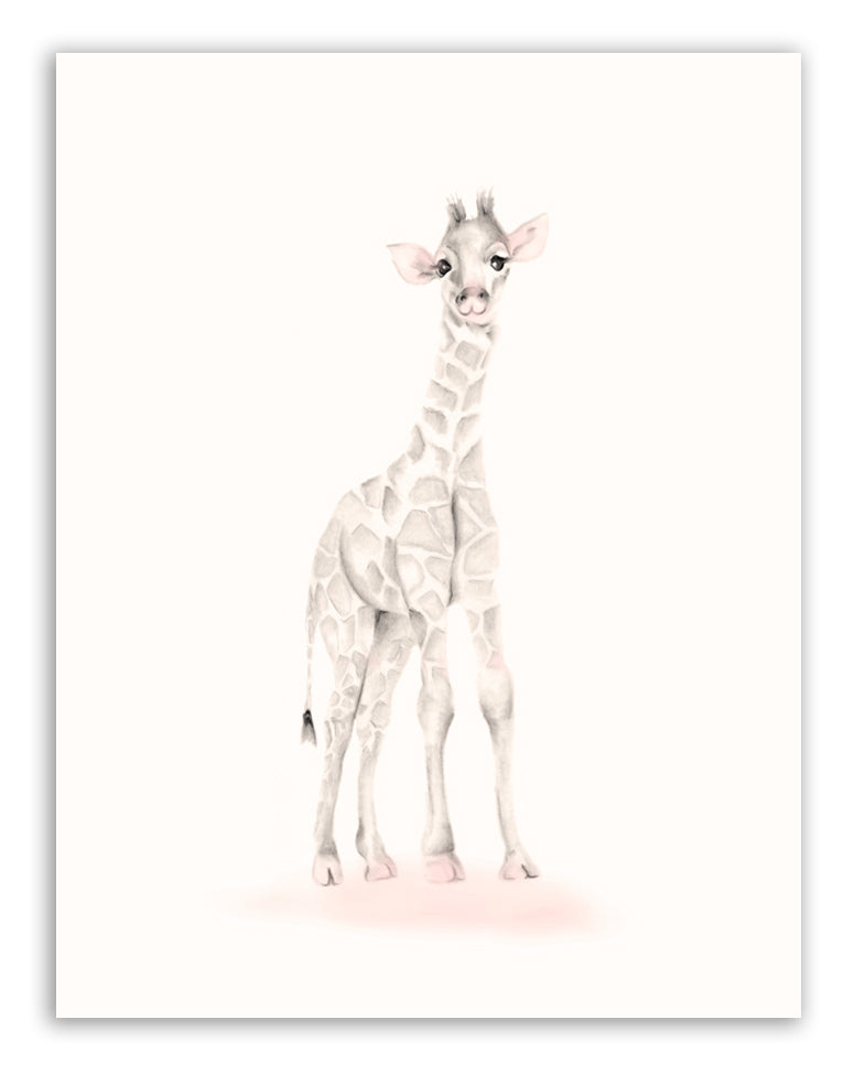 Giraffe Nursery Art Print - Sweet Blush