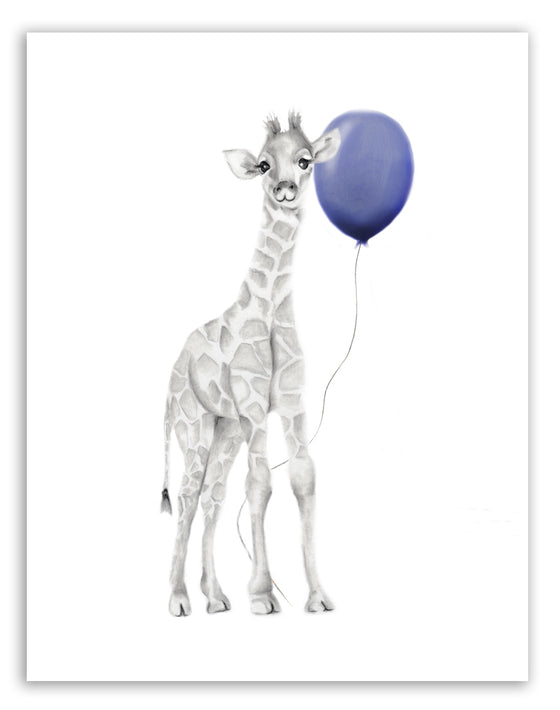 Baby Giraffe with Navy Balloon Print