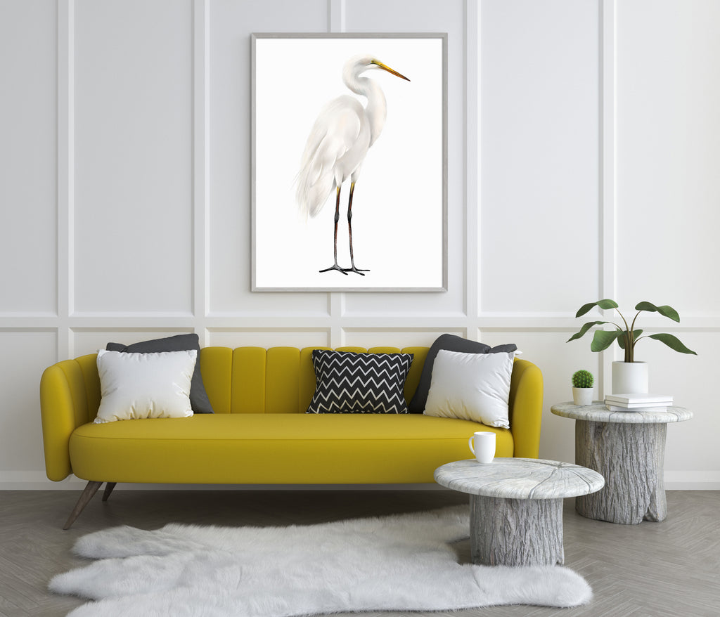 Great Egret Bird Art Print - Studio Q - Art by Nicky Quartermaine Scot