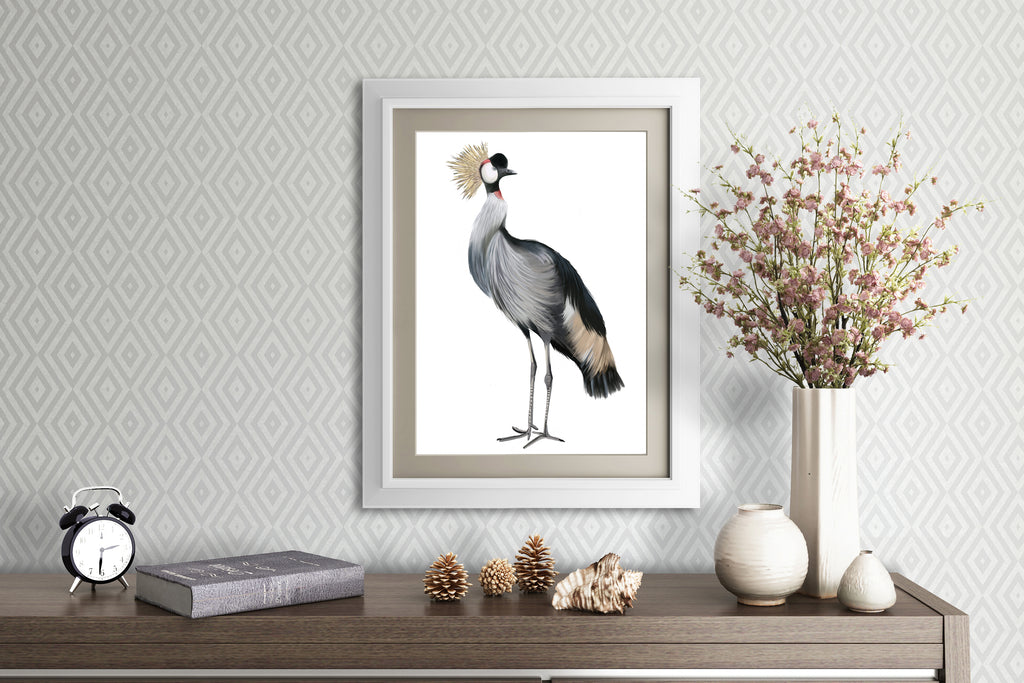 Grey Crowned Crane Print - Studio Q - Art by Nicky Quartermaine Scott