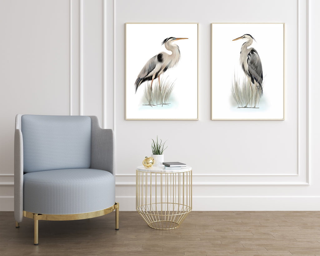Set of 2 heron bird art prints - Studio Q - Art by Nicky Quartermaine Scott